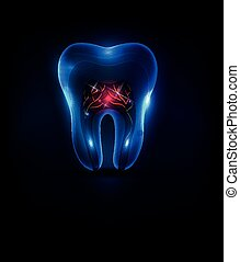 Blue transparent tooth with red roots illustration