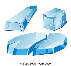 Blue transparent uneven glaciers pieces isolated...