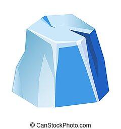 Blue transparent uneven ice glacier piece isolated cartoon...