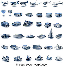 Huge collection of different transport images i blue color, vector illustration suitable for editing.
