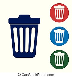 Blue Trash can icon isolated on white background. Garbage bin sign. Vector Illustration
