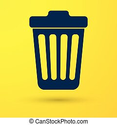 Blue Trash can icon isolated on yellow background. Garbage bin sign. Vector Illustration