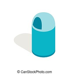 Blue trash can with lid icon, isometric 3d style