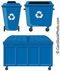 Blue trashcans in three different sizes