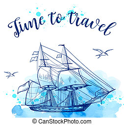 Blue travel background with sailing ship