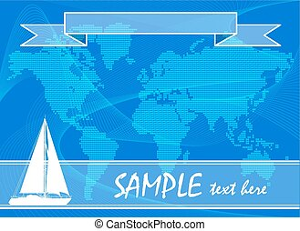 Blue travel background with yacht.