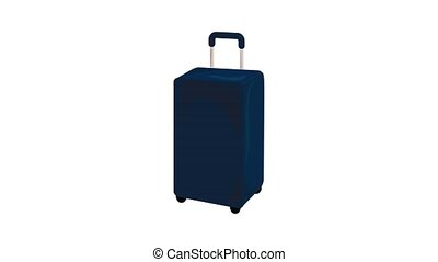 Blue travel bag icon animation best object on white background