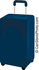 Blue travel bag icon, cartoon style