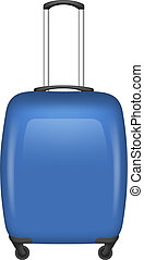 Blue travel bag icon, realistic style