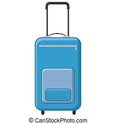 Blue travel suitcase icon, cartoon style