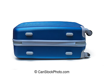 travel suitcase - blue travel suitcase isolated on white...