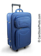 Blue travel suitcase