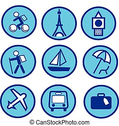 blue traveling and tourism icon set , vector illustration
