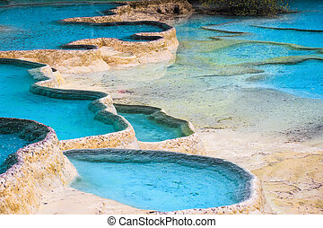 blue travertine ponds