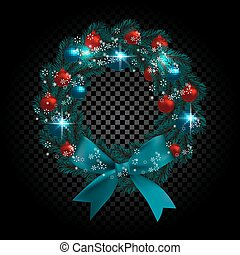 Blue tree branch in the form of a Christmas wreath and snowflakes. Red, green balls checker gradient background. illustration