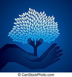 blue tree in hand stock vector