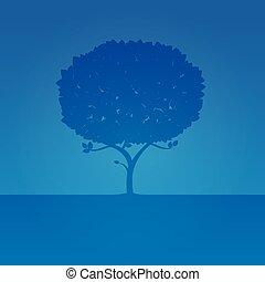 Blue Tree. Vector Illustration.