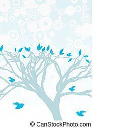 Blue Tree with birds perched and fl