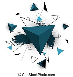 Blue triangle abstract on white background