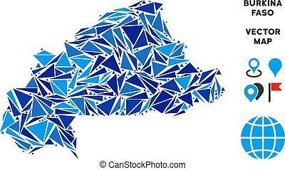 Blue Triangle Burkina Faso Map
