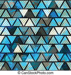 blue triangle grunge seamless pattern