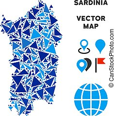 Blue Triangle Italian Sardinia Island Map - Italian Sardinia...