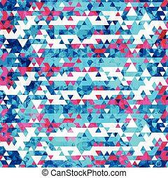 blue triangle seamless pattern with grunge effect