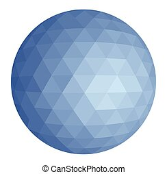 blue triangle sphere - Abstract low poly triangulation...