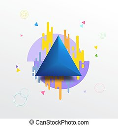 Blue triangle with colorful geometric texture background.