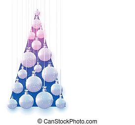 Blue and violet triangle with hanging matt light blue and pink christmas balls hanging on threads. Space for text. Vector festive illustration.
