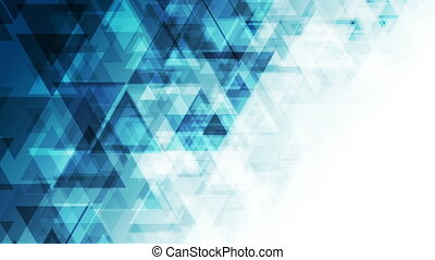 Blue triangles abstract technology low poly video animation