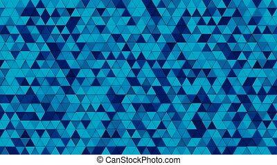 Blue triangles mosaic 3D render loopable animation