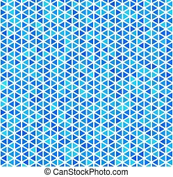 Blue triangles on white, abstract seamless pattern