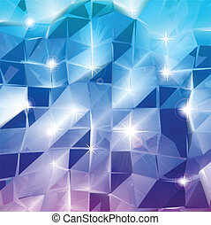 Blue triangles. Vector shine background