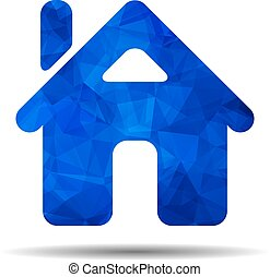 blue triangular polygonal flat home icon on a white background