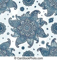 Blue tribal ethnic flowers seamless pattern