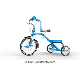 Blue tricycle - side view