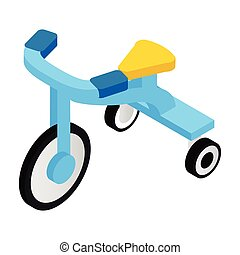 Blue tricycles isometric 3d icon