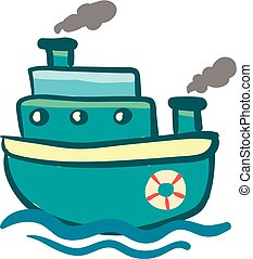 Blue triple storied steam ship vector or color illustration
