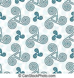 Blue triskel celtic symbols seamless pattern
