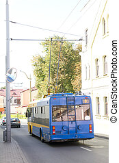 Blue trolleybus on the street in old city - Blue trolleybus...
