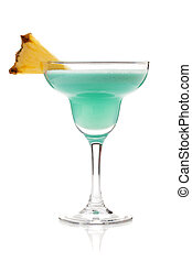 Blue tropical cocktail in margarita glass