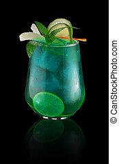 Blue tropical cocktail over dark background