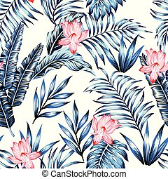 Blue tropical leaves pink flowers white background