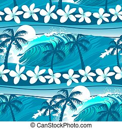 Blue tropical surfing with palm trees seamless pattern