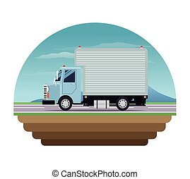 blue truck cargo delivery transport stamp