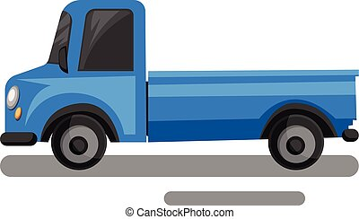Blue truck cartoon style vector illustration on white background.