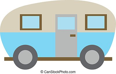 Blue truck, illustration, vector on white background.
