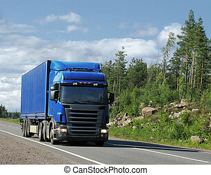country highway - blue truck on country highway
