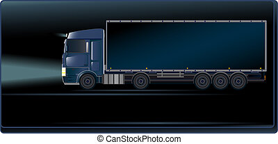 Blue truck on the night road - Visiting card with blue truck...